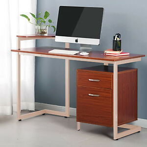 Proht Office Computer Desk W Two Drawers Pc laptop writing Table Wood Steel