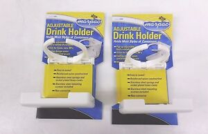 Set Of 2 White Adjustable Folding Cup Drink Holder For Boat Car Rv W Hardware