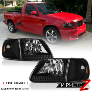 4pc Combo 1997 2003 Ford F150 Black Corner Signal Front Head Lights Lamp Pair