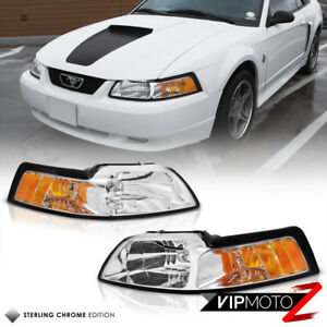 Ford Mustang 99 04 Gt V8 Crystal Clear Headlight Signal Lamp W Amber Left right