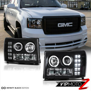 2007 2013 Gmc Sierra 1500 2500hd 3500hd Black Led Angel Eye Projector Headlights