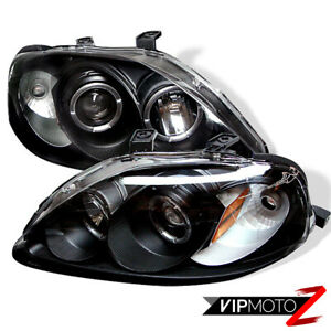 For 99 00 Honda Civic Si Halo Projector Black Headlight Corner Signal Lamp L R
