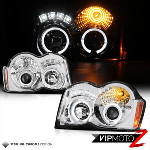2008 2010 Jeep Grand Cherokee bi halo Ring Projector Led Drl Headlights Lamps