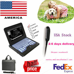 Vet Veterinary Portable Ultrasound Scanner Laptop Machine 7 5mhz Rectal Probe Us