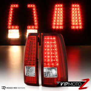 1999 2000 2001 2002 2003 Chevy Silverado Rosso Red Led Tail Lights Brake Lamps