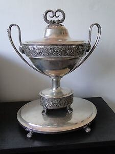 Antique Sterling Silver Soup Tureen On Stand German Circa 1800 Marked