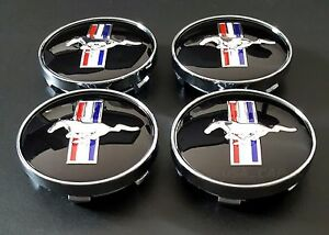 Ford Mustang Cobra Gt Wheel Running Horse Hub Center Caps 60mm Black 4pcs Set H
