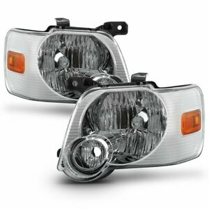 2006 2010 Ford Explorer Factory Chrome Reflector Headlight Lamps Replacement Set