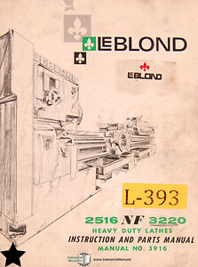 Leblond 2516 Nf 3220 Lathes Instructions And Parts Manual Year 1965