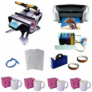 Double Station Mug Heat Press Machine Sublimation Epson Printer C88 Ciss Kit