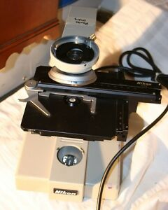 Nikon Sc Microscope Base Turret Condenser Adjustable Stage Table