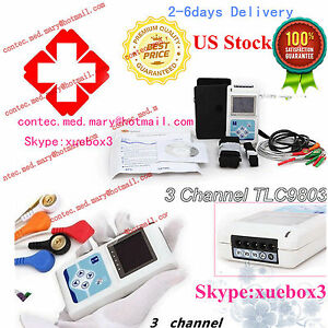Usa Stock 24 Hours 3 Channel Ecg Ecg ekg Holter Monitor System contec ce Tlc9803