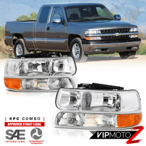 Factory Style 1999 2002 Chevy Silverado 1500 2500 3500 Headlights Bumper Set