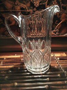 Antique Early American Pressed Glass Pitcher 9 5