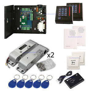 2 Door Control System Security Surface Mounted Electric Bolt Lock Keypad Reader