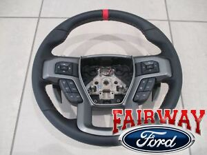 17 Thru 19 F 150 Oem Ford Leather W Red Accent Non heat Steering Wheel Raptor