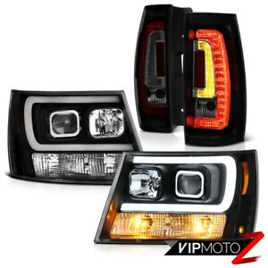 07 14 Chevy Tahoe Raven Black Drl Head Lights Dark Tinted Tail Set Replacement