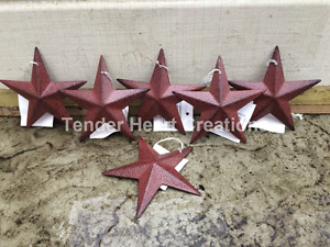 Burgundy Black Barn Stars 3 5 Set Of 6 Primitive Decor Country Free Shipping
