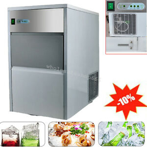 Us Commercial Ice Maker Portable Ice Cube Machine Restaurant Bar Stainless Steel