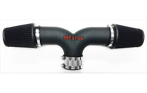 Black Dual For 2002 2003 Jeep Liberty 3 7l V6 Twin Air Intake System Kit