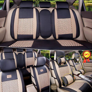 Size L Pu Leather 5 seats Car Seat Covers Cushions Front Rear W Pillows 11pcs