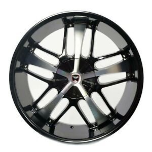 4 Gwg Wheels 24 Inch Black Machined Savanti Rims Fits Dodge Charger 2005 2017