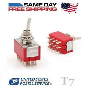 2x Mini 4pdt Quad 4 Pole Double Throw 12 pin on on 5amp Toggle Switches