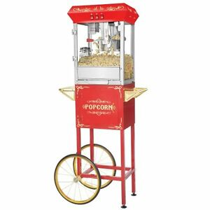 Popcorn Popper Machine Maker Cart 8 Oz Kettle Antique Style Red Stainless Steel