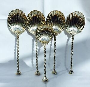 Rare Solid Silver Gilt Mappin Webb Arts Crafts Strawberry Serving Spoons