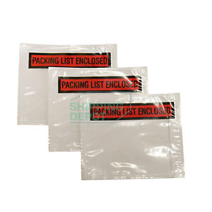 1 2000 4 5x5 5 Clear Red Packing List Enclosed Envelopes Pouch 4 5 X 5 5