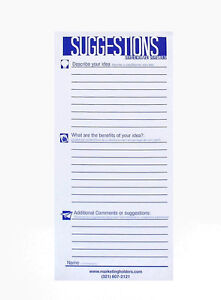 25 Suggestion Survey Box Cards Form 3 5 w X 8 5 h Improvement Cards Pack Of 12