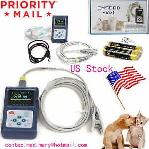 Veterinary Pulse Oximeter Handheld Spo2 Pr Monitor Vet Tongue Probe sw Usa Conte