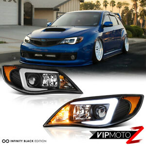 latest Design Oled Tube Black Headlights Lamps For 2008 2014 Subie Impreza Wrx