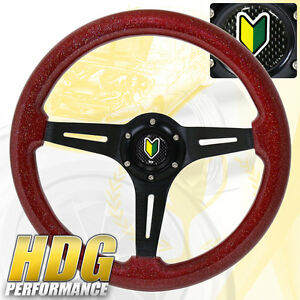 345mm Black Center Red Wood Deep Dish Steering Wheel Jdm Koreisha Horn Button