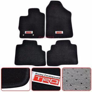 For 07 12 Toyota Yaris Black Nylon Floor Mats Carpets 4pc W Trd Emblem