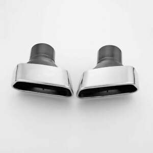 3 Inlet Slant Square Stainless Steel Exhaust Tips Outlet Inside Black Painted