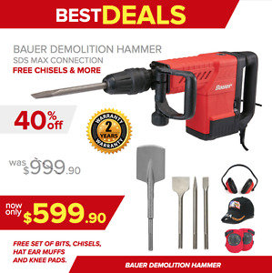 Bauer Demolition Hammer Drill New Free Set Of Bits Chisels Extras Fast Ship