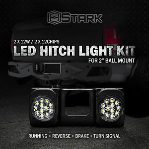 24 Led Truck Suv Trailer Tow Hitch Brake Signal Reverse Light For 2 Mount