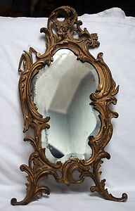 Vintage Cast Beveled Dresser Vanity Mirror Stands 21 Inches Art Deco Style