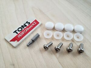 Bmw Security Anti Theft Auto License Plate Screws Stainless Bolts White Caps