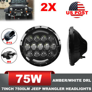 2x 7inch 75w Jeep Wrangler Jk Cree Led Projector Headlights With Turn Signal Drl