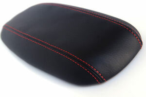 Console Armrest Leather Synthetic Cover For Ford Mustang 94 04 Black Red Stitch