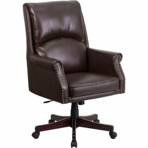 High Back Pillow Back Brown Leather Executive Swivel Office Chair Flabt9025h2bng