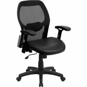 Mid back Black Super Mesh Executive Swivel Office Chair With Leather Padded Seat
