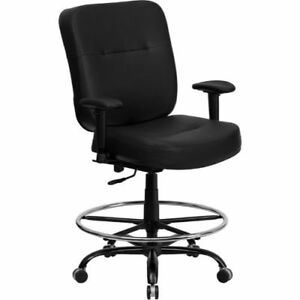 Hercules Series 400 Lb Capacity Big Tall Black Leather Drafting Chair With Ex