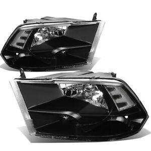 Fit 2009 2018 Dodge Ram Pickup Black Housing Clear Side Quad Headlight lamp Set