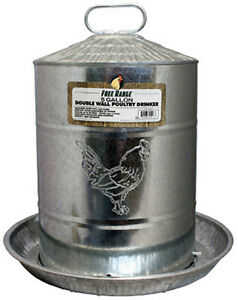 Free Range 4213 5 Gallon Double Wall Galvanized Poultry Waterer Drinker