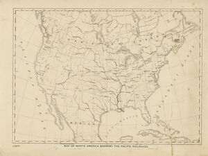 1860 Map Of North America Showing The Pacific Railroads
