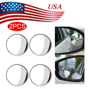 2 Round Stick On Rear view Blind Spot Convex Wide Angle Mirrors Car