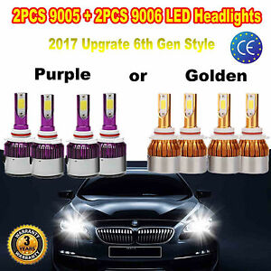 9006 9005 Total 240w Cree Led Headlights High Low Beam Combo Kit 6000k 2 Colors